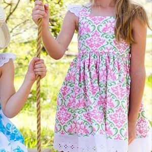 Eleanor Rose Girls 4 twirl dress lace damask pink